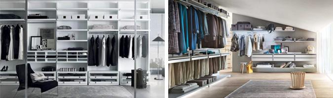 Sedie, tavolini, tappeti e specchi, elementi accessori per la cabina armadio.