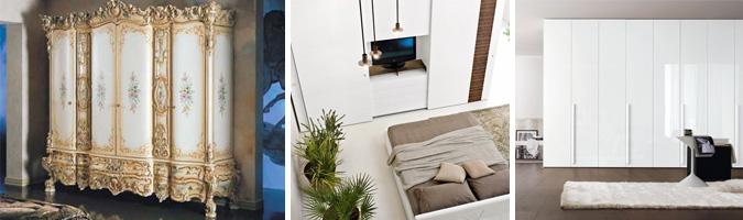 Armadi classici e moderni ideali per la camera da letto matrimoniale.